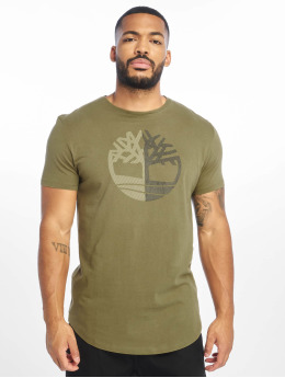 Timberland T-Shirty Large Silcone Tree oliwkowy