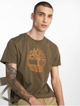 Timberland Tričká Brand Tree&lin Reg zelená