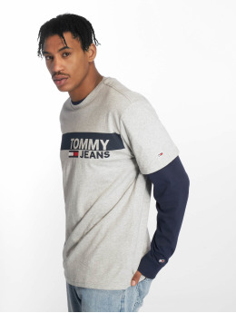 Tommy Jeans Camiseta Essential Box Logo gris