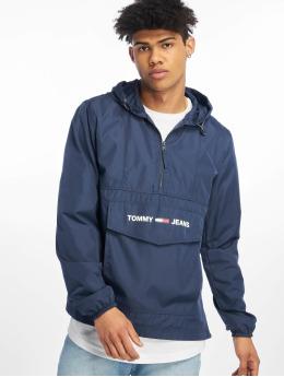 Tommy Jeans Prechodné vetrovky Nylon Shell Solid Popover modrá