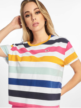 Tommy Jeans T-skjorter Stripe Cropped Boxy mangefarget
