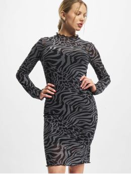 Urban Classics Šaty Ladies Aop Double Layer šedá