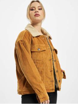 Urban Classics Демисезонная куртка Ladies Oversize Sherpa Corduroy коричневый
