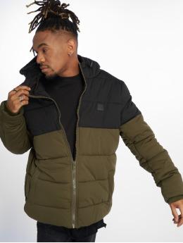 Urban Classics Стеганая куртка Hooded 2-Tone оливковый