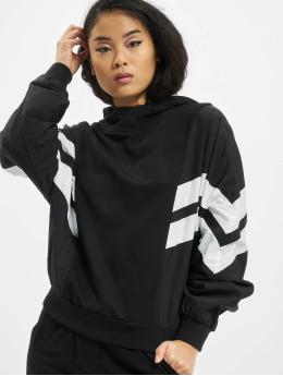 Urban Classics Bluzy z kapturem Ladies Mix Crinkle Nylon czarny