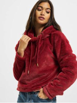 Urban Classics Bluzy z kapturem Oversize Short Teddy czerwony