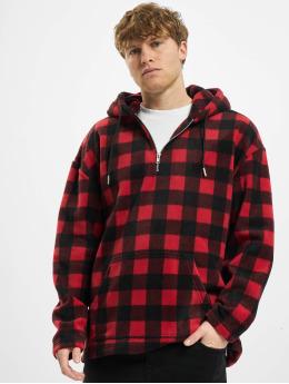 Urban Classics Bluzy z kapturem Patterned Polar Fleece  czerwony