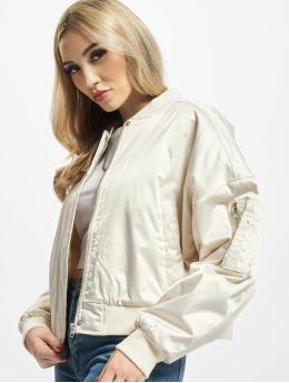 Urban Classics Bomber jacket Ladies Short Oversized Satin  beige
