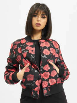 Urban Classics Roses Bomber Jacket Black/Red