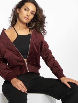 Urban Classics Bundy na přechodné roční období Ladies Diamond Quilt Velvet červený