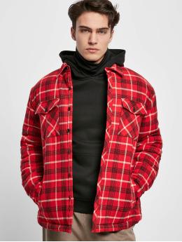 Urban Classics Bundy na přechodné roční období Plaid Quilted Shirt  červený