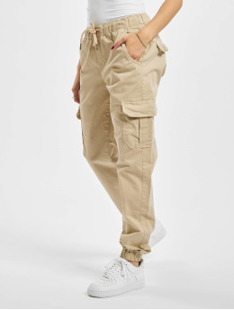 Urban Classics Cargo Ladies High Waist Cargo Jogging béžová