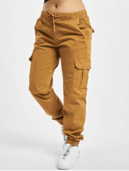 Urban Classics Cargo Ladies High Waist Cargo hnedá