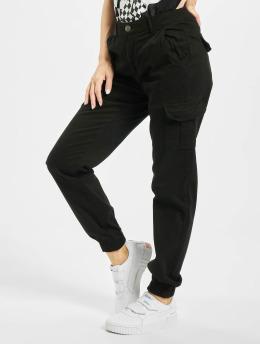Urban Classics Cargo pants Ladies High Waist Cargo  čern
