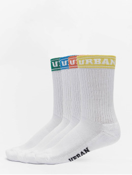 Urban Classics Chaussettes Short Sporty Logo Socks Coloured Cuff 4-Pack blanc