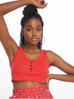 Rib Crop Top Fire Red