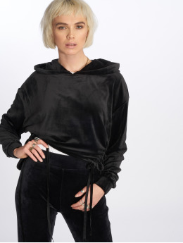Urban Classics Hoodies Short Velvet Gathered čern