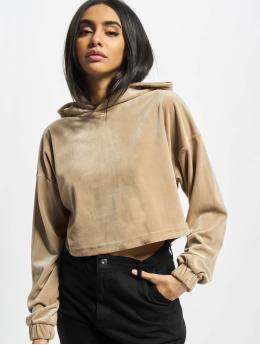 Urban Classics Hoodies Ladies Cropped Velvet Oversized  hnědý