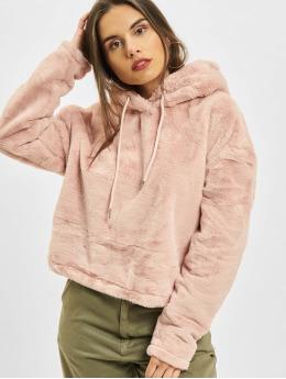 Urban Classics Hoodies Oversize Short Teddy růžový