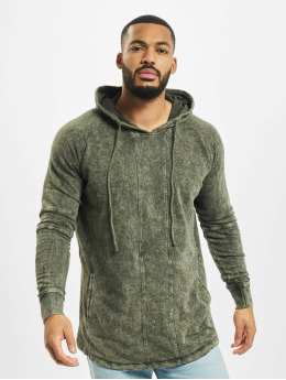 Urban Classics Hoody Terry Acid Washed Long Shaped olijfgroen