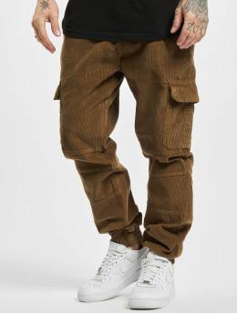Urban Classics Jogging kalhoty Corduroy Cargo hnědý