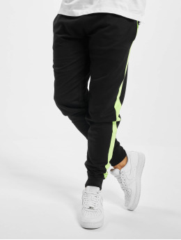 Urban Classics joggingbroek Neon Striped  zwart