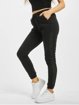 Urban Classics Frauen Jogginghose Tech Mesh Side Stripe in schwarz