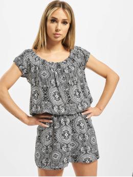 Urban Classics jumpsuit Ladies All Over Print Off Shoulder zwart