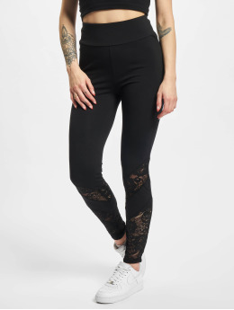 Urban Classics Leggings/Treggings Ladies Highwaist Lace Inset  czarny