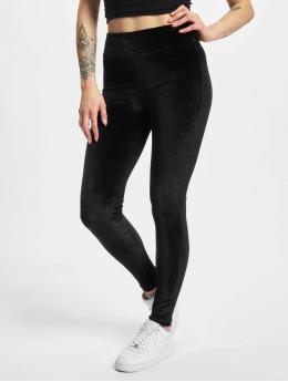 Urban Classics Leginy/Tregginy Ladies High Waist Velvet čern