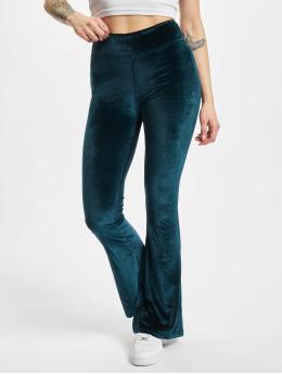 Urban Classics Leginy/Tregginy Ladies High Waist Velvet Boot Cut modrý