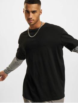 Urban Classics Longsleeve Oversized Double Layer Striped Tall zwart