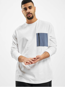 Urban Classics Maglietta a manica lunga Boxy Big Contrast Pocket  bianco