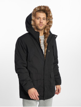 Urban Classics Parka Bunda Hooded Faux Fur čern