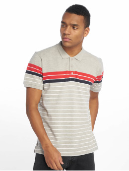 Urban Classics Classic Stripe Polo Shirt Grey/Firered/Navy/White