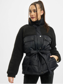 Urban Classics Puffer Jacket Ladies Sherpa Mix  schwarz