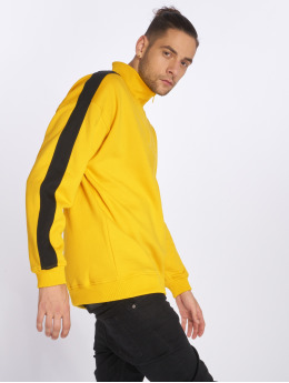 Urban Classics Männer Pullover Oversize Stripe Troyer in gelb