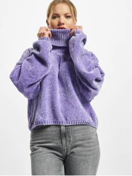 Urban Classics Pullover Ladies Short Chenille Turtleneck purple