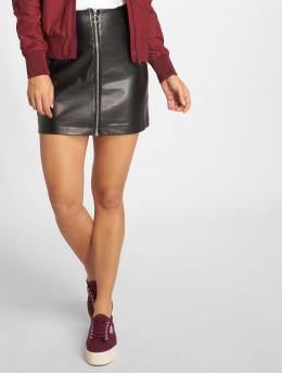Urban Classics rok Faux Leather Zip zwart