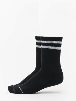 2 Tone College Double Pack Socks Black/White