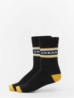 2-Pack Logo Stripe Sport Socks Black/White/Yellow