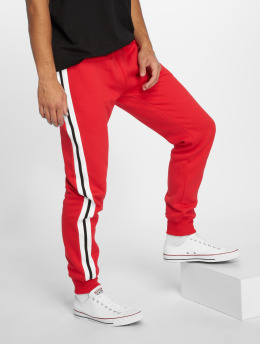 Urban Classics Spodnie do joggingu 3-Tone Side Stripe Terry czerwony