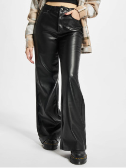 Urban Classics Stoffbukser Ladies Faux Leather Wide Leg svart