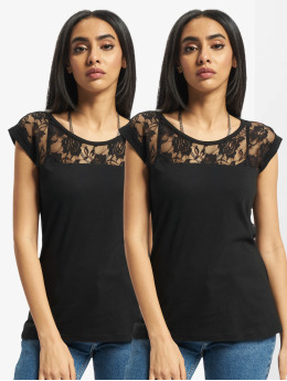 Urban Classics T-Shirt Ladies Top Laces 2-Pack black