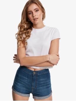 Urban Classics T-Shirt Cropped Rib blanc