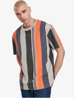 Urban Classics T-Shirt Heavy Oversized Big All Over Print Stripe gris