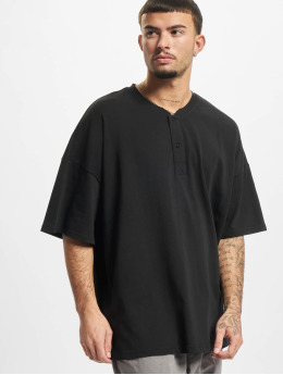 Urban Classics T-Shirt Oversized Henley schwarz