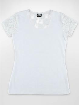 Urban Classics T-Shirt Ladies Back Laces weiß