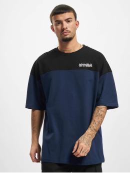 Urban Classics T-shirts Oversized Color Block Logo blå