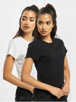 Urban Classics T-Shirty Cropped Rib 2-Pack  czarny